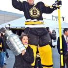 Towering Bruins defenseman Zdeno Chara was seen roistering with the faithful outside Boston's TD Bank Garden before the team opened its Stanley Cup championship defense against the wily Philadelphia Flyers on Oct. 6.