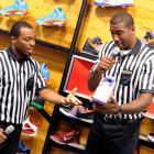 With the NBA locked out for the forseeable future, the Knicks star (right) has decided to follow in the footsteps of Al Bundy and peddle footwear (  CLICK HERE   to watch the official training video). Here he (Amar'e, not Al) is learning on-the-job at the 34th Street Foot Locker store in New York City.