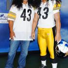Troy, the shaggy Steelers safety (right) and his little-known twin brother Sparta were spotted at  Madame Tussauds Wax Museum in Los Angeles, of all places.