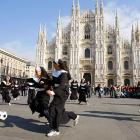 Actresses from the hit musical now lead one-game-to-nun in Milan, Italy. That's the Duomo Cathedral in the background, but you knew that.