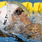 Elizabeth Pelton of the U.S. set a new Pan American Games' record in the 100-meter backstroke.