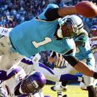 Cam Newton comes up short of the pylon in the Panthers' 24-21 loss to the Minnesota Vikings.