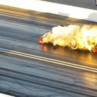 Johnny Gray's Dodge Charger loses its body during the final round of qualifying for the NHRA Nationals at Las Vegas Motor Speedway.