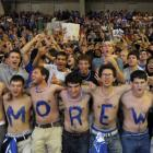 Duke students countdown Duke's head coach Mike Kryzewski's wins to 903 when he will surpass Bobby Knight's all-time NCAA D-1 record during the Countdown to Craziness event at Cameron Indoor Stadium.