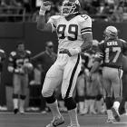 """Fans always can argue the legitimacy of Michael Strahan's """"gift"""" sack from Brett Favre in 2002, which broke Gastineau's single-season mark of 22. But undeniable is Gastineau's head-spinning 41 sacks in a mere two seasons in 1983 and 1984. Gastineau simply could not be blocked."""