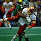 No surprise here. Reggie White was perhaps the greatest defensive lineman the NFL has known. White's dominance was such that he also ranks second all-time on the Packers' list and his 198.5 career sacks (not counting 24 in the USFL) is more than the combined number of the rival Redskins' top two sacks leaders, Dexter Manley and Charles Mann.