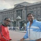 Cowboys' players Tony Dorsett (left) and Tony Hill take some touristy photos outside of Buckingham Palace.