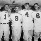 The Cardinals' stars pose after winning the National League championship game against the Brooklyn Dodgers. Slaughter and Musial are both members of the Baseball Hall of Fame.