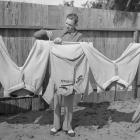 Dean hangs his uniform out to dry after a spring training workout. The Hall of Fame pitcher was part of the 1934 Cardinals' World Series-winning team and was named NL MVP the same year.