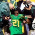 This was a costly win for Oregon. Star running back LaMichael James (pictured) rushed for 239 yards and a touchdown, but he dislocated his right elbow early in the fourth quarter and had to be carted off the field. It remains to be seen if James will play in Week 7 when the Ducks face Arizona State.