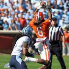 Sammy Watkins has justifiably stolen the headlines, but he's not the only Clemson receiver making things happen. DeAndre Hopkins (pictured) delivered a huge day for the Tigers, catching nine balls for 158 yards and a score. (Watkins caught eight for 90 yards and a touchdown.) The undefeated Tigers face fellow ACC title hopeful Georgia Tech next.