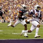 Quarterback controversy? Not as far as Rueben Randle (pictured) is concerned. The LSU star caught a 42-yard touchdown from Jordan Jefferson and then a 46-yard score from Jarrett Lee -- in the first half. The Tigers from Baton Rouge upended the Tigers from the Plains despite playing without suspended stars Tyrann Mathieu and Spencer Ware.