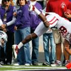 Kansas State's undefeated season came to an end in lopsided fashion. The Wildcats had the misfortune of drawing the Sooners off their shocking Week 8 loss to Texas Tech, and Bob Stoops has never lost back-to-back conference games. Bill Snyder's crew kept it close in the first half, but Ryan Broyles (pictured) and Co. pulled away in the second half to register an astounding 690 total yards on the day.