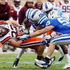 The Hokies managed just 14 points despite racking up 434 yards, but they'll take the victory. David Wilson had another big day for Tech, rushing for 148 yards, but first-year started Logan Thomas continues to be up-and-down at quarterback. Thomas managed just 191 pass yards against the Blue Devils, threw two interceptions and fumbled once.