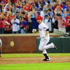 Mitch Moreland put the Rangers on the board with a 424-foot solo homer (announced 1 foot farther than Albert Pujols' long blast Saturday) in the third inning. Moreland made his second appearance of the World Series in Game 5.