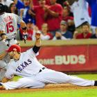 After failing to scoop an Elvis Andrus throw, Moreland made it up for it by stretching to retire Rafael Furcal.