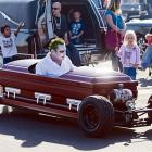 In other auto racing news, Mike Petrich piloted his drop-dead cool ride at the Annual Trick or Treat Festival in Costa Mesa, CA.