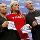 "Olympic champion speed skater Apolo Ohno, ex-Olympic softball player Jennie Finch, and former NHL star Mark ""Moose"" Messier proudly displayed their running bibs, which they say come in handy for dining on lobster, at a news conference in New York City."