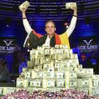 Pius Heinz of Germany waves the $8.7 million stimulus package he won after beating Martin Staszko of the Czech Republic -- you could say Heinz bounced the Czech -- at the Rio hotel-casino in Las Vegas.