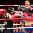 """The Sweet Science, indeed. Their fists horribly swollen from delivering jackhammer blows, Nadya """"Octomom"""" Suleman (left) decisioned tabloid sensation/adult film thespian Amy """"Long Island Lolita"""" Fisher in three brutal rounds in Hollywood on Nov. 5. Good thing for Octomom  that Ms. Fisher wasn't packing heat or the outcome could have been very, very different."""
