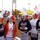 A group from Brest, France, displayed their natural kinship with New Yorkers before the big, long race.