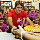 Here's the tennis whiz sharpening his pizza serve at the Swiss Indoors ATP Tournament in Basel, a popular herb commonly used in sauces.