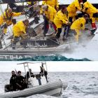 The former soccer great (far left in the top photograph) unceremoniously fell off Abu Dhabi's diinghy during the first sea leg of the Volvo Ocean Race near Alicante, Spain. (There he is, below, in the drink.) Six boats will sail around the five continents during the next nine months, occasionally scooping Mr. Zidane out of the foaming brine before the Kraken can get him.