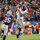 Tight end Jake Ballard hauls in a 28-yard reception that led to the winning touchdown in the Giants' 24-20 victory over the New England Patriots.