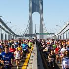 Thousands of marathon runners cross the Verrazano-Narrows Bridge during the 2011 New York City Marathon. Geoffrey Mutai set a new course record with a time of 2 hours, 5 minutes and 5 seconds.