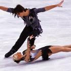 Russia's Tatiana Volosozhar planks during her Pairs Free Skating program with Maxim Trankov at the Ice Skating Bompard Trophy competition in Paris.