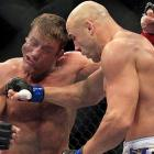 Kyle Kingsbury lands a right to Stephan Bonnar's chin during the first round of their UFC 139 light heavyweight fight. Bonnar won by decision.