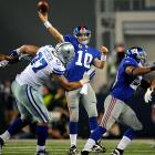 With their season on the line, the Giants overcame a 12-point deficit with two touchdown drives in the final 3:41 and blocked Dallas' potential game-tying field goal in the closing seconds. Eli Manning threw for 400 yards to trump Tony Romo, who had 321 passing yards and four touchdowns in a game that featured eight lead changes; a safety; scoring plays of 47 and 50 yards; and unexpected 100-yard rushing performances from Brandon Jacobs and Felix Jones.
