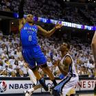 In the sixth playoff game to go three overtimes in NBA history, Oklahoma City scored the last 10 points to level a series that it ultimately won in seven games. The Thunder's Kevin Durant and Russell Westbrook combined for 75 points in 108 minutes to trump Zach Randolph and Marc Gasol, who teamed for 60 points in 113 minutes. That the Grizzlies overcame a 10-point deficit with five minutes left in regulation (capped by Mike Conley's three-pointer to force OT) and then got an improbable game-tying three-pointer from Greivis Vasquez near the end of the first OT only added to the drama.