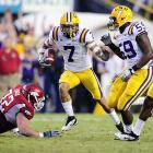 """Mathieu's penchant for creating game-changing turnovers earned him the nickname """"Honey Badger,"""" and his big-play ability helped earn LSU a spot in the BCS title game. Though detractors are quick to point out that Morris Claiborne is actually LSU's best cover corner, Mathieu tallied 70 tackles, six forced fumbles, two interceptions and two defensive touchdowns as a sophomore and delivered momentum-swinging punt returns in crucial games against Arkansas and Georgia."""