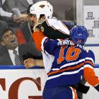 The fan on the other side of the glass there in Edmonton was clearly lovin' him some knuckle sandwiches during an exciting NHL game on Nov. 30.