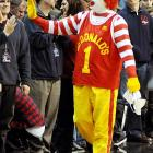 Looking like he could use a salad now and then, America's favorite fast food clown pressed the flesh during an exciting college basketball game between the Western Michigan Broncos and the Gonzaga Bulldogs at the Spokane Arena.