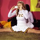 One of the occupational hazards of cheerleading :  your legs can, and will, get stuck in this unfortunate position.
