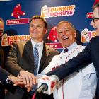 Big news conference in Beantown, where Bobby V was introduced as the manager of the Dunkin Donuts on Yawkey Way, just down the block from historic Fenway Park. Here, he poses with his first three customers who wandered in for a few Boston Cremes.