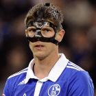 FC Schalke's Klaas-Jan Huntelaar, who appears to be related in some way to Hannibal Lecter of  Silence of the Lambs  fame (  CLICK HERE for family photo  ) gives FC Augsburg the evil eye at Veltins Arena in Gelsenkirchen, North Rhine-Westphalia, Germany.