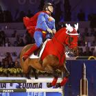 A display of equestrian skill and levitation (hence the name of the sport) by Roger Yves Bost and his fiery steed at the Gucci Masters Style Competition in Paris.