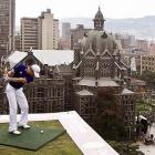 To promote a local beer, the Colombian duffer attempted a hole-in-one -- into a cup of suds below, one presumes --  from the tenth floor of a hotel  in Medellin. Villegas, who was given 15 shots, did not successfully make the 108-yard drive, which is no wonder. Who can hit straight after 15 shots? John Daly, maybe.
