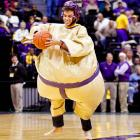 An LSU Tigers fan reenacts the classic comedy  Sleeper  during a game against the Boise State Broncos at the Pete Maravich Assembly Center in Baton Rouge, Louisiana.    CLICK HERE   and   HERE   to watch the original scenes. You won't regret it.