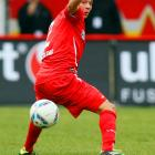 Christopher Quiring of FC Union Berlin dramatically passes a soccer ball. Makes passing a gall stone look like child's play.