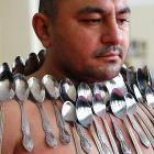 An accomplished spoons player with a magnetic personality, this fellow is a leading candidate to break the Guinness World Record for Most Spoons on a Human Body. His attempt took place in Tbilisi, Georgia.