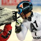 Cristian Deville of Italy reacts after placing third in Flachau, Austria. Heaven knows what he would have done if he had won.