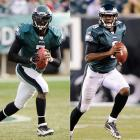 Vick:  11 GS, 2,675 yards, 13 TDs, 13 INTs, 19 SCKs  Young:  3 GS, 866 yards, 4 TDs, 9 INTs, 8 SCKs