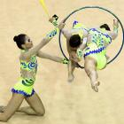 Brazil jumps through hoops during the rhythmic gymnastics competition at the Pan American Games in Guadalajara, Mexico. The games took place from Oct. 14-30.