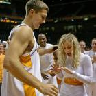 Lauren Clabough looks pretty excited about the proposal from Tennessee basketball player Ryan Childress (or at least the ring he gave her) in 2008.