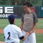 Minor league pitcher Brady Martinez of the Charleston Riverdogs proposes to Josie Hancock after she threw out the first pitch in a June 2007 baseball game in South Carolina.