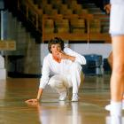 Summit looks on during a Lady Vols' practice in Knoxville during Tennessee's first national championship season under the Hall of Fame coach. She's led the squad to eight total NCAA championships.
